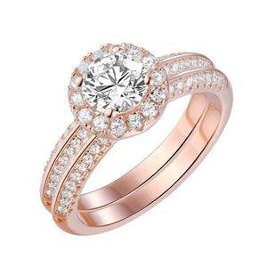 2PCS Rose Gold Round Zircon Bridal Ring