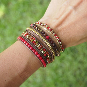 Bohemian Handmade Natural Stone and Brass Bead Wrap Bracelet Set