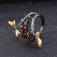 Handmade Adjustable 1.81Ct Natural Garnet Branch Rings