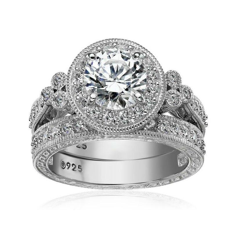 1.2 Ct Round Cut Cubic Zircon 925 Sterling Silver Halo Ring