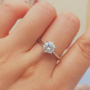 3.0ct Round Moissanite Diamond Solitaire Engagement Ring
