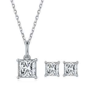 Cushion Cut Moissanite Diamond Necklace and Earrings