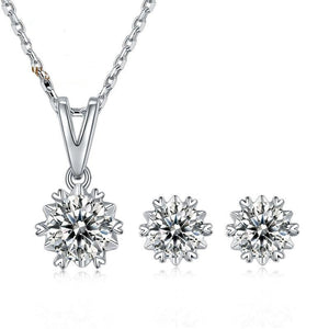 Snowflake Round D Color Moissanite Diamond Earrings and Pendant Necklace Set