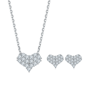 Moissanite Diamond Heart Pendant Necklace Earrings and Bracelet
