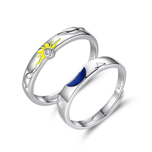 sun, moon and stars couple ring - Black Diamonds New York