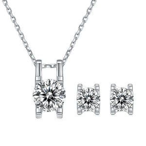 Round Shape Moissanite Diamond Earrings and Necklace