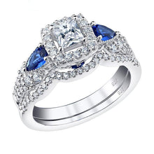 Princess Cut Blue Pear Zircons Ring Set- Black Diamonds New York