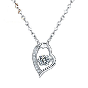 5.0mm D Color 0.5Ct Moissanite Diamond Heart Pendant Necklace