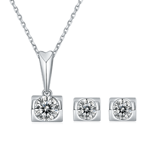 Angel's Kiss Moissanite Diamond Necklace and Earrings