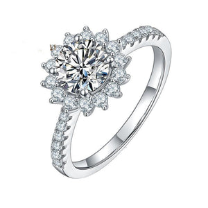 1.0Ct 6.5mm VVS1 Moissanite Diamond Sun Flower Engagement Ring