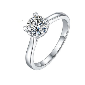 1Ct 6.5mm Round Moissanite Solitaire Engagement Ring