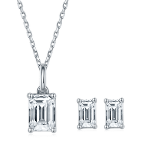 Emerald Cut Moissanite Jewelry Pendant Necklace and Earring