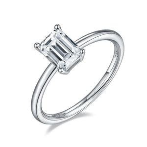1.0Ct 5*7mm Emerald Cut Moissanite Solitaire Engagement Ring