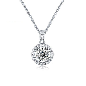 1.0Ct 6.5mm D Color Twinkle Stone Moissanite Diamond Round Pendant Necklace