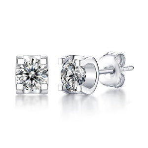 GEM'S BALLET 5.0mm 1.0Ct Moissanite Diamond Earrings Wedding Jewelry Sterling Silver 925 Round Moissanite Women's Stud Earring - Black Diamonds New York