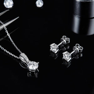 Moissanite Diamond Solitaire Necklace and Earrings Set For Women