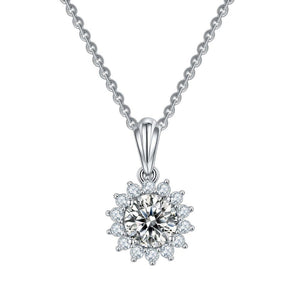 Sun flower Jewelry Set Moissanite Diamond Pendant Necklace and Earring