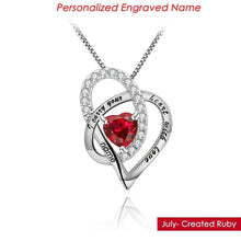 Personalized Engraved Name Birthstone Necklace