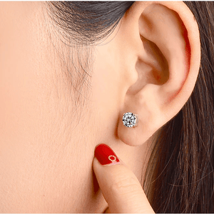 CVD Diamond Earrings Four Prong Setting