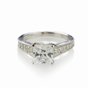 CVD Diamond Princess Cut Solitaire Ring
