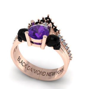 Soulmate- 1ct Violet Round Cut CVD Diamond Gothic Ring