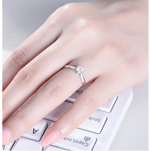 CVD Diamond Six Prong Hollow Shape Ring