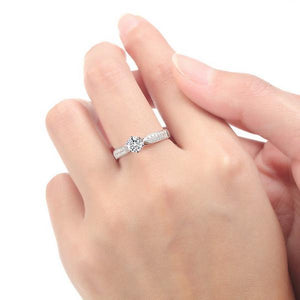 CVD Diamonds Six Prong Starry Sky Double Row Broken Ring