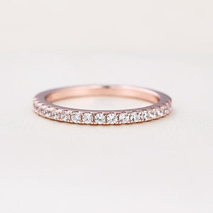 Rose Gold Half Eternity Thin Women's Wedding Band