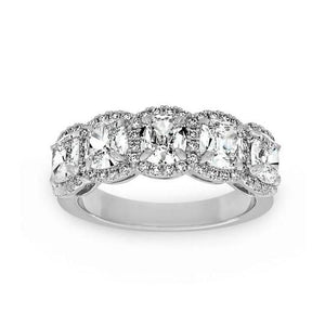 Halo Six Cushion Cut Diamond Wedding Band Ring