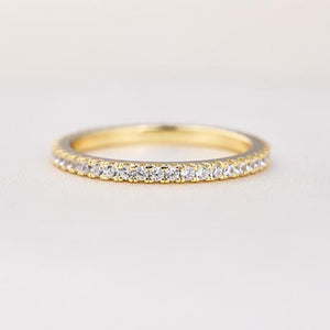 Classic Yellow Gold Full Eternity Thin Wedding Band