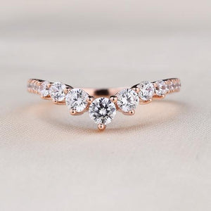 Rose Gold Chic Thin V Shaped Stacking Wedding Band