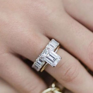 Yellow Gold 5.0ct Emerald Cut Engagement Ring & Emerald Cut Band