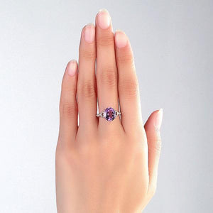 14K White Gold 3.5ct Amethyst 0.097 Ct Natural Diamond Ring