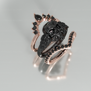 My Queen- 3pc Rose Gold Black Moissanite Gothic Ring