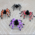 Plush Spiders And Web Decorations