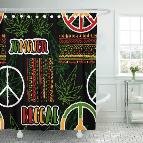Green Hippie Peace, Cannabis, And Jamaican Shower Curtain