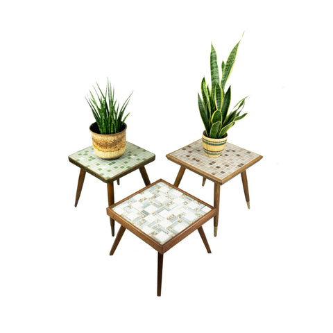 1960s Ceramic MOSAIC PLANT STOOL in 3 variations