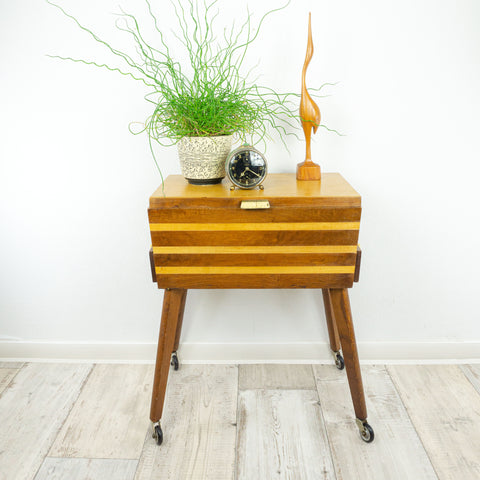 1960s BICOLOR NIGHTSTAND Sewing CART