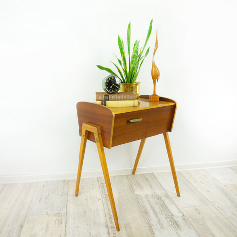 1960s BICOLOR SEWING BOX Nightstand Side Table
