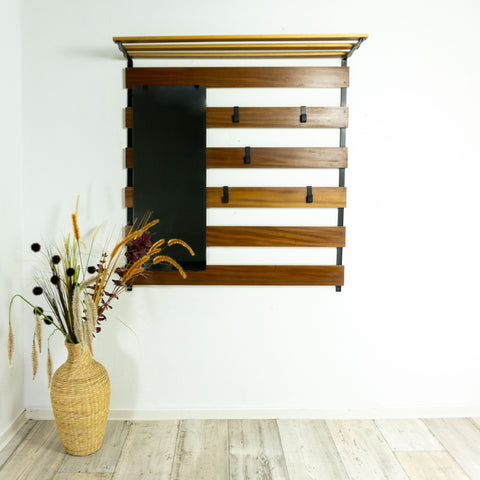 1960s MIDCENTURY TEAK WARDROBE with mirror and hatrack