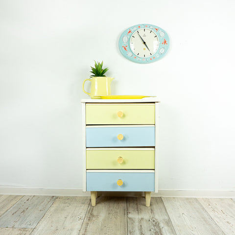 1960s pastel colored WOODEN MIDCENTURY DRESSER Cabinet