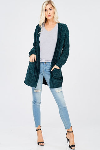 Teal green  chenille cardigan