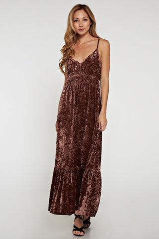 Mocha Crushed Velvet Dress