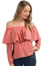 Salmon Ruffle Off Shoulder top