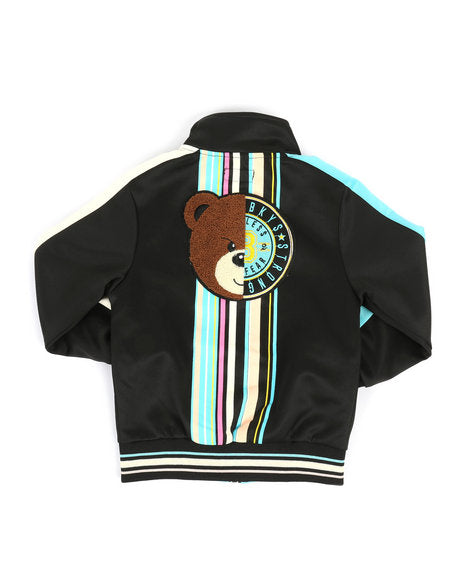 Track Jacket w- Stripes & Chenille Patch - FLY GUYZ