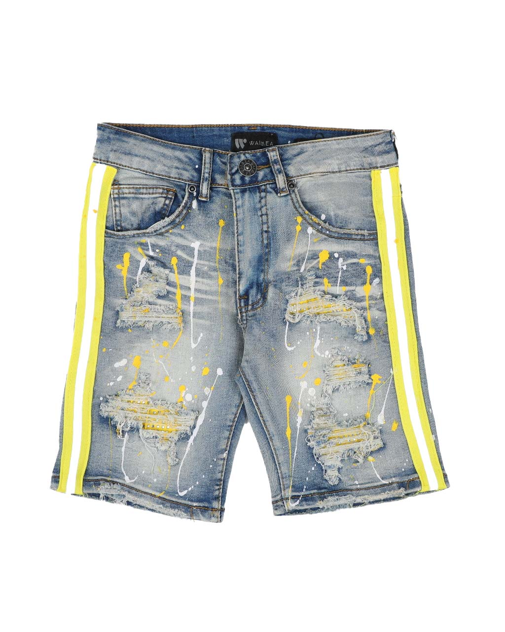Destructed Taped Side Bleach Splatter Denim Shorts - FLY GUYZ