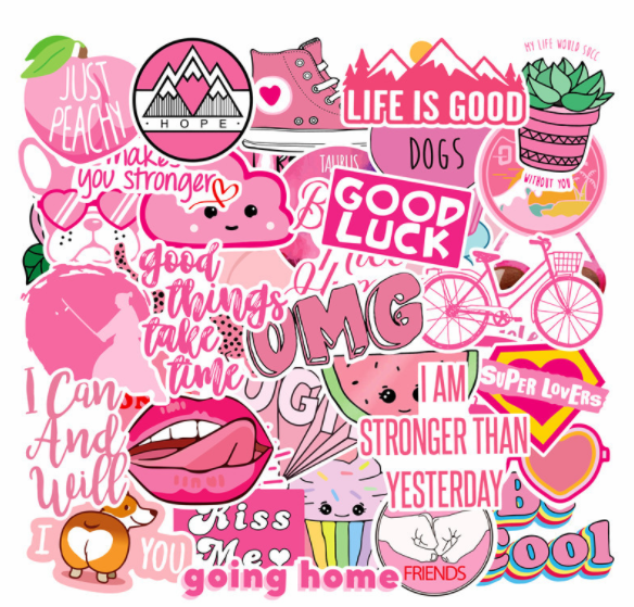 Pink pink Water Proof Stickers - Non-repeating 40pcs/Pack