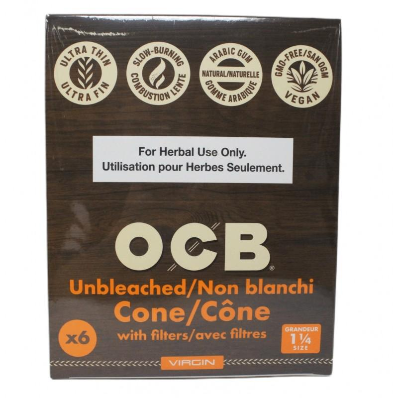 OCB Virgin Unbleached Pre-rolled Cones 1 ¼ - 32Packs/Box