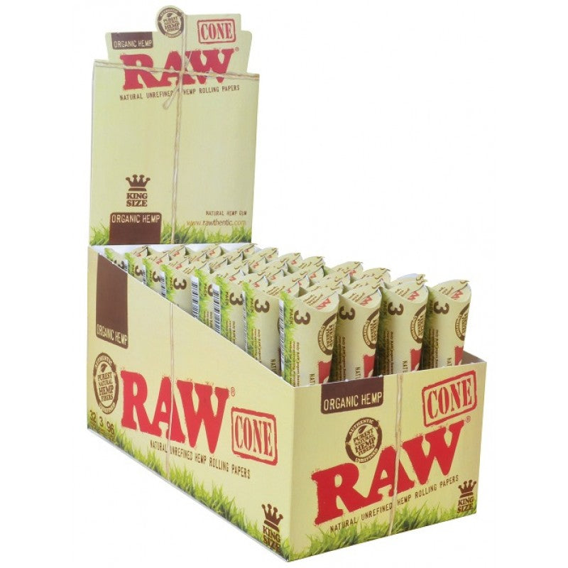 RAW Organic Hemp King Size Cones - 32 Packs/Box