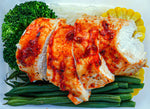 Pro Prep Peri-peri spiced chicken breast served with rice noodles, fine green beans, corn and broccoli.